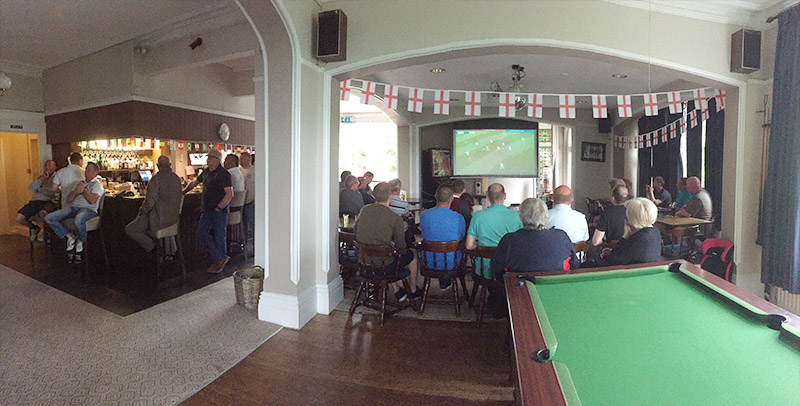 Members watch sport, world cup football in the bar